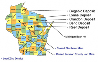 Major Wisconsin mining projects. The Gogebic Taconite site spans both Ashland and Iron Counties. Image: Wisconsin DNR