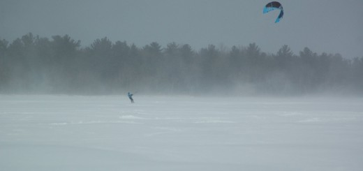 A winter surfer on Black Lake. Photo: Credit.