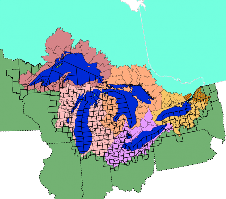 This map of the Great Lakes basin from the EPA is similar to others, but includes hardly any of the Chicago area in the southwest side of the watershed. (Photo: EPA)