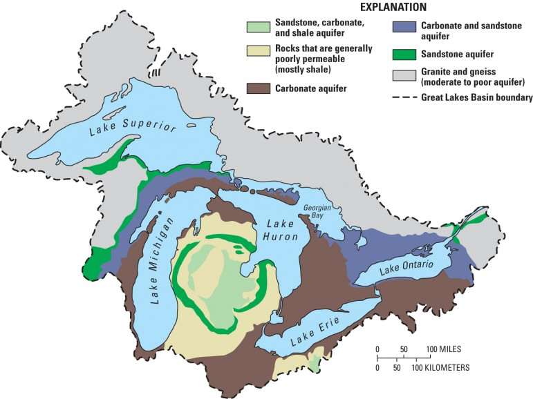 This map of the basin from the U.S. Geological Survey includes a larger (though still not large) amount  of the Chicago area in its depiction of the Great Lakes watershed. (Photo: USGS)