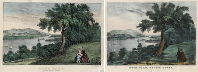 """Hyde Park on the Hudson"" by Currier & Ives. Image: National Park Service"