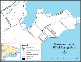 A map of Ostrander Point. Photo from Gilead Power Inc.