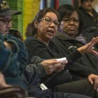 Residents of Chicago's Southeast Side strategize about fighting petcoke at a meeting April 15. Photo courtesy of Lloyd DeGrane.