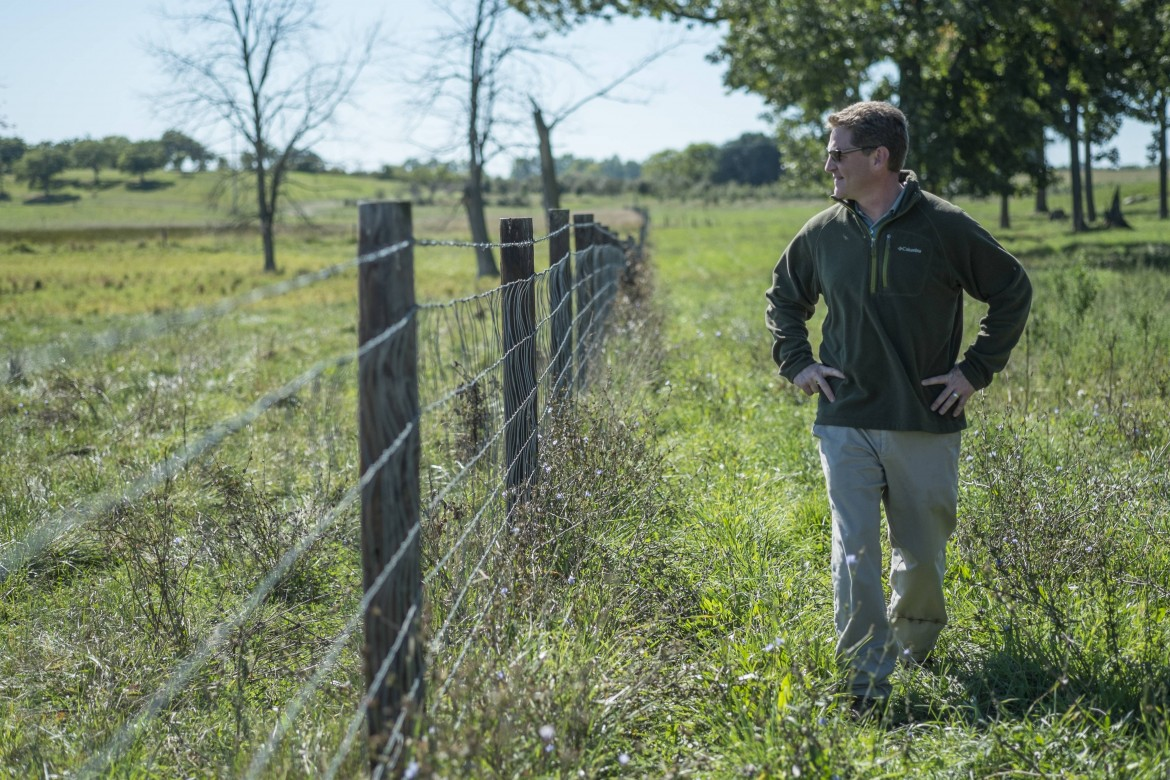 MSU Researcher Jason Rowntree gazes out at a pasture at the MSU campus farms last fall. Image: MSU.