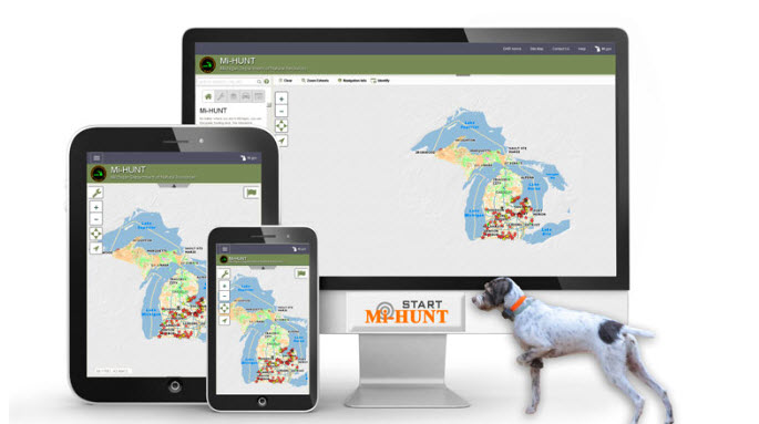 Mi-HUNT is now available on smartphones and tablets, as well as in its original desktop computer format. Image: Michigan Department of Natural Resources.