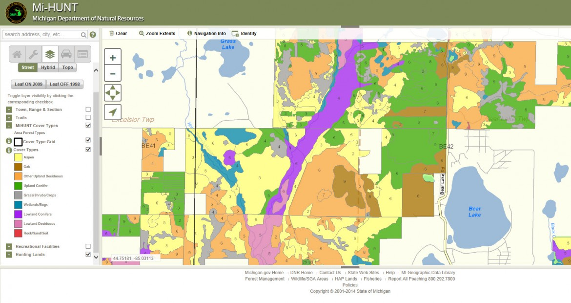 This image from the Mi-HUNT website depicts differing forested and non-forested areas near Bear Lake, Mich., in Kalkaska County. Image: Michigan Department of Natural Resources.