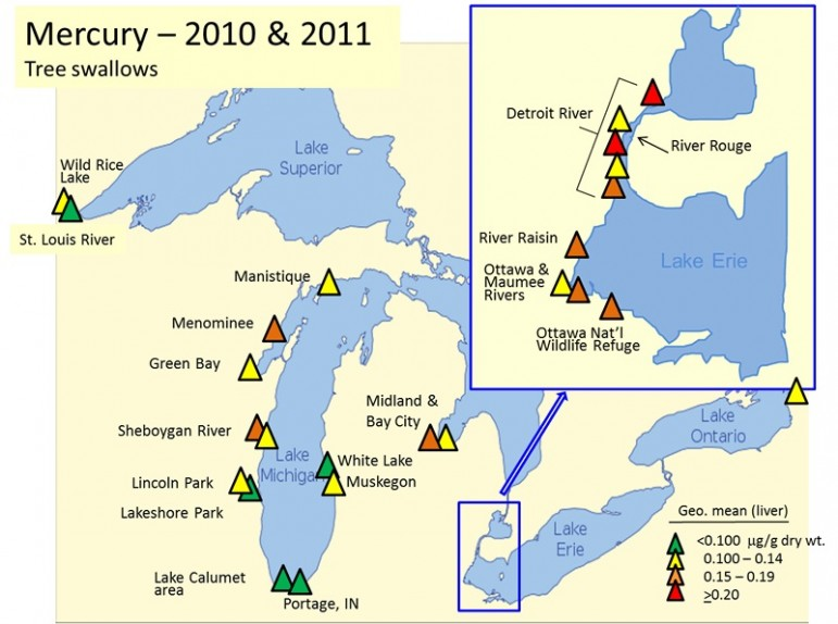 Map shows the level of mercury at each study site. Image: U.S. Geological Survey.