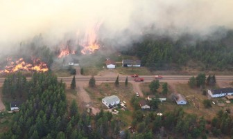 Fire in Michigan's Marquette county Image by: Michigan DNR pilot.
