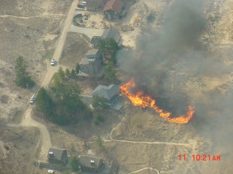 Fire in Oceana county along Lake Michigan. Image by: Kevin Jacobs, a pilot with the Michigan DNR.