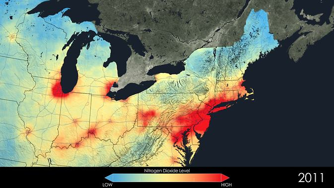 Distribution of nitrogen oxide in 2011. Image: NASA