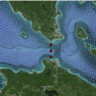 Image from the report, Straits of Mackinac Contaminant Release Scearios: Flow Visualization and Tracer Simulations produced by the University of Michigan Water Center.