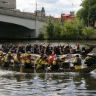 The Mighty Tridents of the Grand River, front, slightly surpasses the Scales of Justice dragon boat team in the Women's Center of Greater   Lansing Captial City Dragon Boat Race on September 14, 2014. Image: Fred Cowels