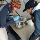 University of Michigan research scientist Melissa Duhaime and research assistants Rachel Cable and Greg Boehm sort through the organisms, plastic debris and sediment collected in their net's first tow. Image: Danielle Woodward