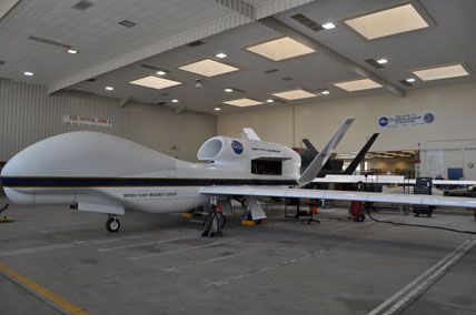 NASA's unmanned Global Hawk is used in hurricane research.
