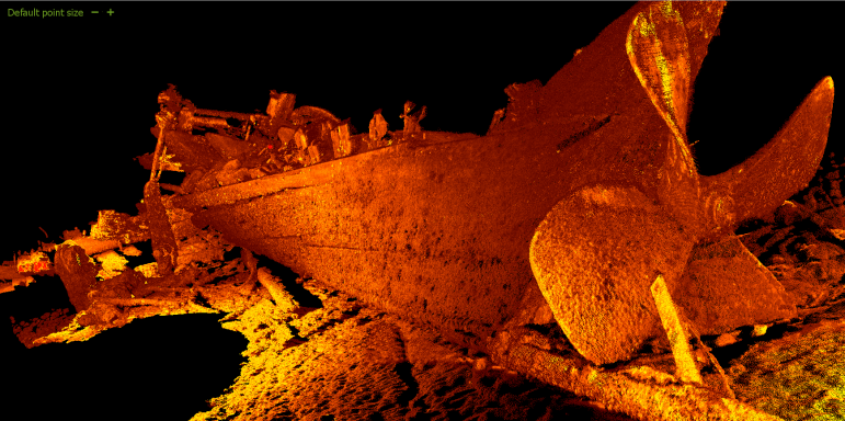 This image of the shipwreck Monohansett was created with a laser