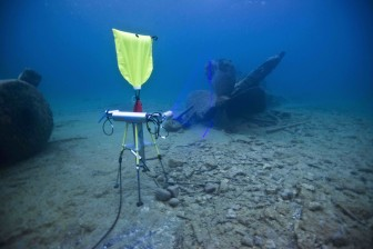 A laser is used to map the wreck of the Monohansett