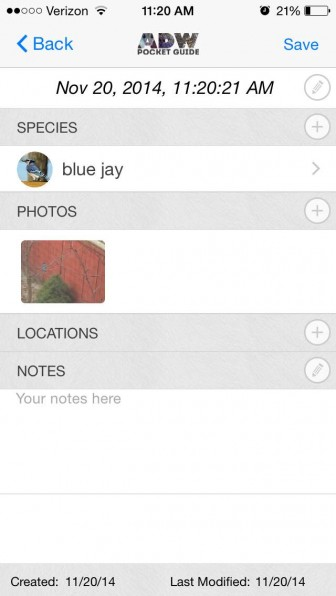App screen allows you to take notes and collect images. Image: Victoria Laza