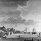 "Painting of the Detroit waterfront, ""View of Detroit, July 25, 1794."" Credit: Burton Historical Collection, Detroit Public Library."