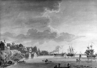 """Painting of the Detroit waterfront, """"View of Detroit, July 25, 1794."""" Credit: Burton Historical Collection, Detroit Public Library."""