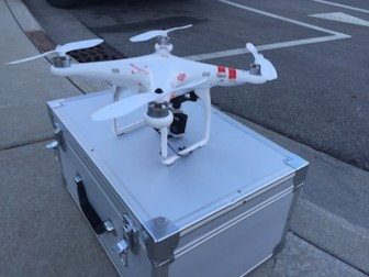 Photograph DJI Phantom drone equipped with GoPro camera, used to photographMSU campus. Image: Capital News Service