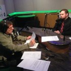 Aaron Ferguson (right), with Current State host Mark Bashore. Credit: Scott Pohl/WKAR