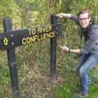 Journalism student Todd Dudley brings some enthusiasm to a river field trip. Image: