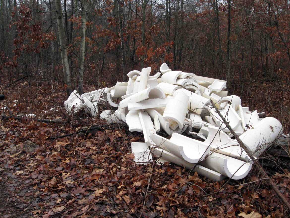 Illegally dumped pipe insulation containing asbestos. Image: Ohio Environmental Protection Agency
