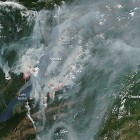 Smoke from forest fires cover Lake Baikal.