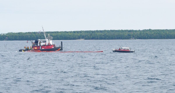 Oil Boom Deployed on Tug Boat