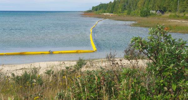 Oil Booms on the Shoreline