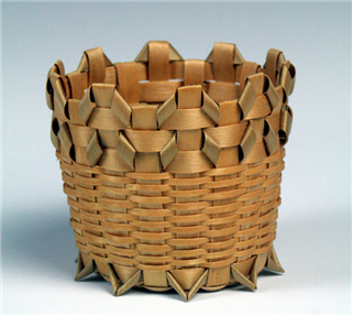 "Black ash and spruce little ""what-not"" basket by Michigan Heritage Award winner Edith Bondie. Image: Michigan State University Museum"