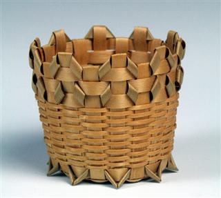 "Black ash and spruce little ""what-not"" basket by Michigan Heritage Award winner Edith Bondie. Image: Michigan State University Museum"