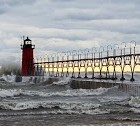 Photographer, Tom Gill, captures the 20 feet swells of a Great Lakes winter storm.
