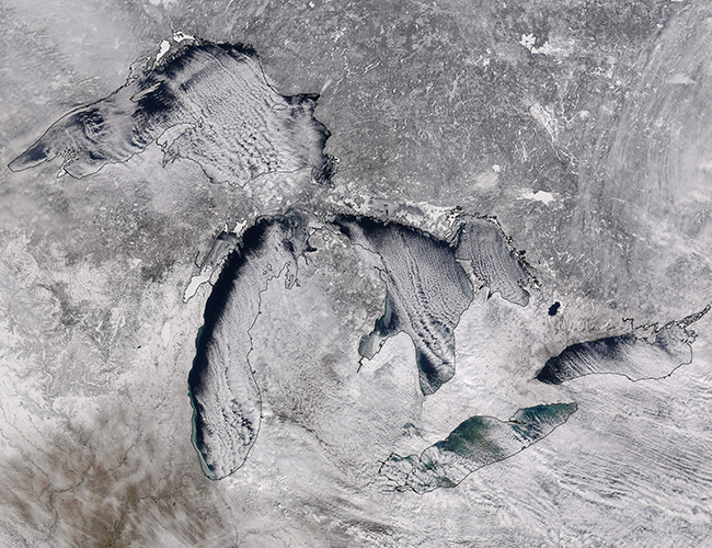 Cloud streets over the Great Lakes. Image: Jeff Schmaltz