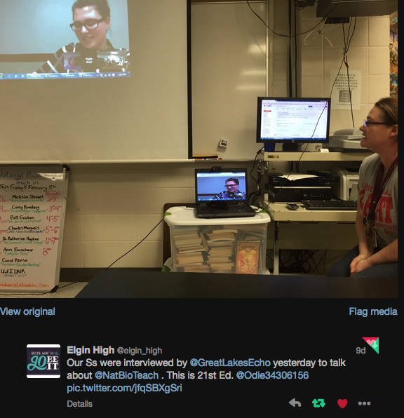 The author using Google Hangouts to connect with Elgin High. Image: Twitter