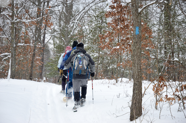 Snowshoeing near Petoskey, Michigan. Image: Dove Day