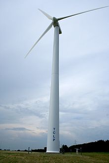 The first commercial wind turbine in Michigan, installed in Traverse City in 1996. Image: Creative Commons