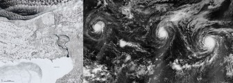 """Baby, It's Cold Outside"" (left) and ""Trio of Hurricanes Over the Pacific Ocean"", its competitor in the first round (right)"