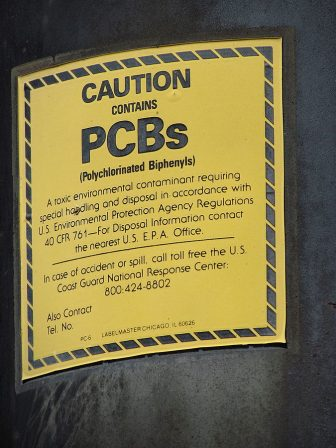 A warning sign on an electrical transformer in Chicago. Image: Alternet.org