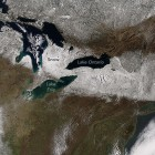An image of snow dropped from a recent snowstorm in the Upper Midwest. Image: NASA