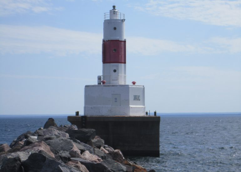 The Presque Isle Harbor Breakwater Light was built in 1941 to guide vessels shipping iron ore mined in Michigan's Upper Peninsula. Image: U.S. Coast Guard