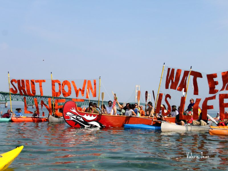 Local tribes and activists raise awareness of pipeline crossing Straits of Mackinac last September. Image: Valerie Jean