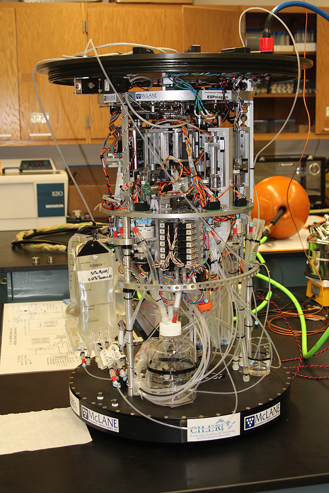 The Environmental Sample Processor out of its case and in the laboratory. Image: NOAA.