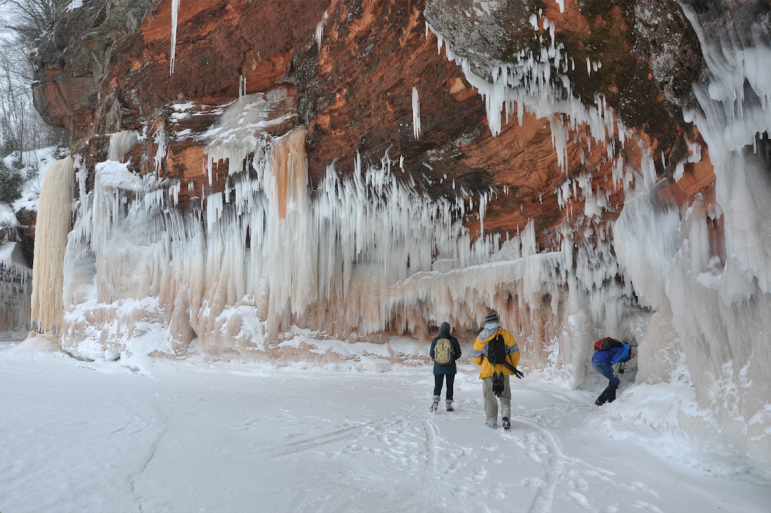 """The ice caves are only accessible during the coldest, iciest winters–when the lake freezes and you can safely walk out to them–and the fact that they were accessible for several weeks brought in a lot of tourism and was a very visible indicator to the public of just how cold and icy that winter was,"" Titze said. Image: Daniel Titze"