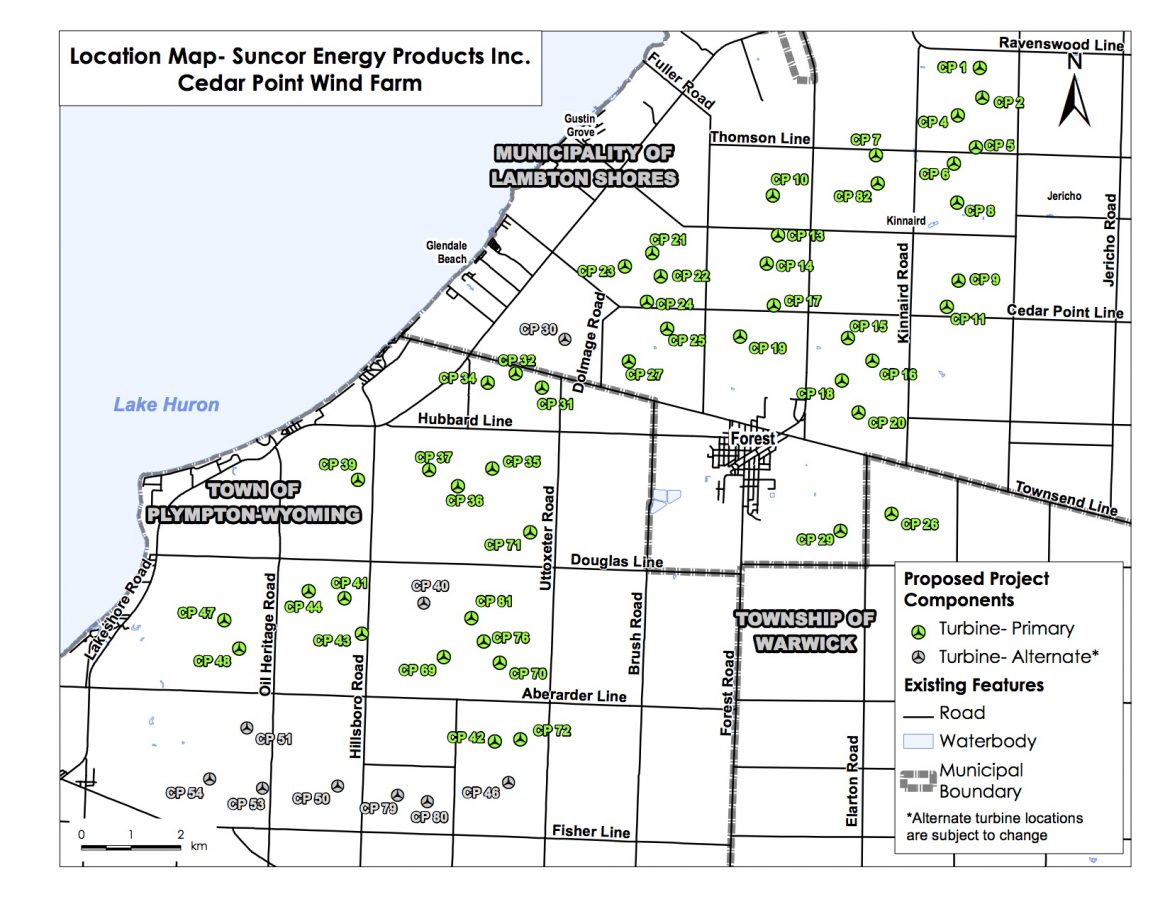 The Cedar Point Wind Power Project operates in three Lambton County municipalities: Warwick, Lambton Shores and Plympton-Wyoming. The project area is about 40 kilometers (25 miles) northeast of Sarnia, Ontario. Image: Suncor Energy
