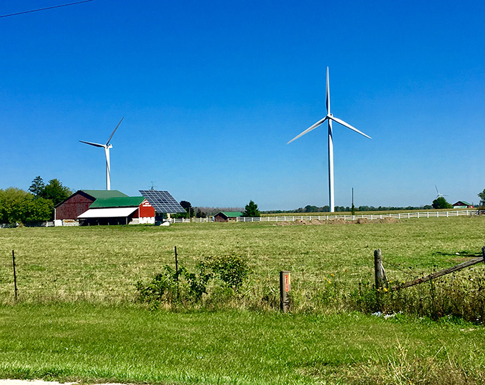 A farm with solar power panels and wind turbines in Lambton Shores. Image: Megan McDonnell