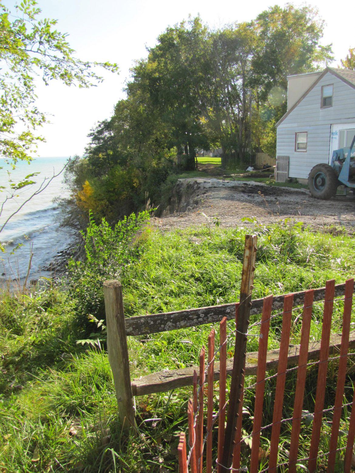 Lake is encroaching on homes. Image: Susan Bence