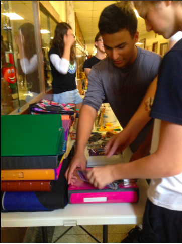 School supplies given out at lunch time at an Ontario school. Image: Lisa Jeffery