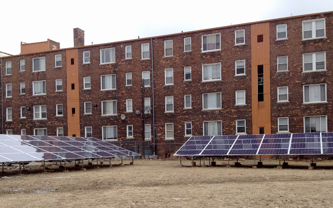 Solar panels in midtown Detroit. Image: Midwest Energy News.
