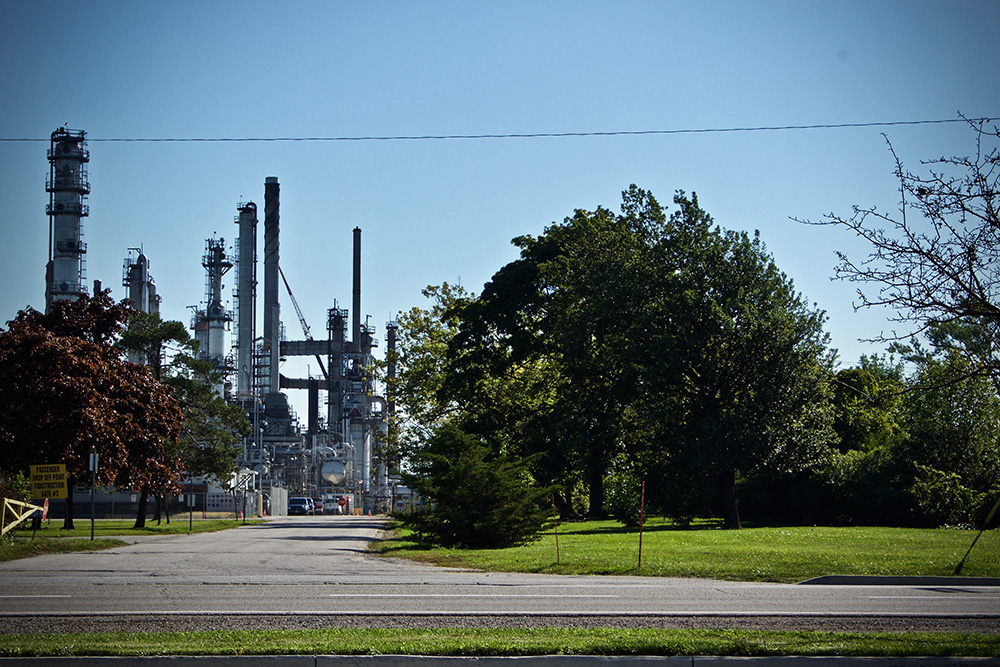Across the street from the St. Clair River, Shell dock and Guthrie Park is the Shell Manufacturing Centre. The refinery opened in 1963 and produces 75,000 barrels of crude oil daily. Images: Megan McDonnell